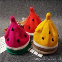 Wholesale Knitting Kids Hats Design - 3 colors New arrivals Watermelon design caps Children Handmade winter warm boy girl Hat Handmade Watermelon hat Kids Hand Knitted Hat