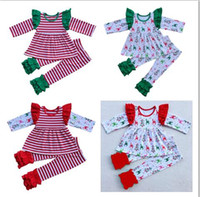 Wholesale Baby Girl Christmas Cotton Pajamas Suits Long Flying Sleeve Stripe Shirt Leggings Piece Sets Girls Boutique Party Outfit Kids Clothing