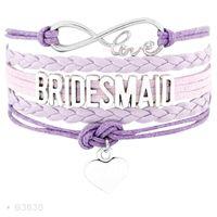 Wholesale Suede Leather Jewelry - Infinity Love Plexus Bridesmaid Heart Charm Bracelets For Women Jewelry Pink Black Purple Blue Suede Leather Wrap custom