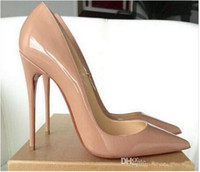 Wholesale brown wedding shoes - Women Black Sheepskin Nude Patent Leather Poined Toe Women Pumps,120mm Fashion lRed Bottom High Heels Shoes for Women Wedding shoes 88