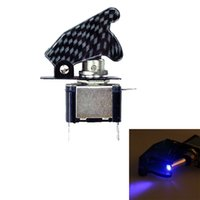 12v anahtar kapakları toptan satış-12 V 20A Karbon Fiber LED Işıklı Geçiş Anahtarı Kontrol ON / OFF + Uçak Füze Stil Kapak Up Rocker Düğme Çevirin