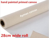Wholesale Canvas Oil Paintings Texture - 28cm wide roll 328gsm Smooth texture acid-free primed oil painting linen canvas roll