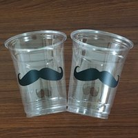 Wholesale Mustache Cups - 2017 NEW Vinyl Sticker Clear Disposable Mustache 12oz Party Cups Gender Reveal Baby Shower Wedding Party Decorations Tablewares