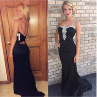 Wholesale Satin Dressing Gowns Women China - Sexy Black Mermaid Satin Evening Dress 2017 Beaded Sweetheart Formal Prom Gowns with Open Back Strapless Party Dress For Women China