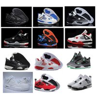 2017 Retro 4 IV Men Basketball Chaussures All White Alternate 89 Black Cat Bred Fear Pack Militaire Blue OG Black Cement Sports Boots