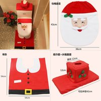 Natal Toilet Seat Covers Papai Noel Snowman alce Toilet Seat Cover Rug banheiro tanque tampa define 2016 NEW Natal Decoração Presentes Xmas