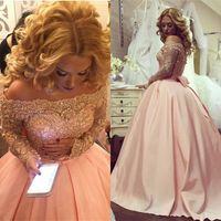 Wholesale modest prom dresses champagne color - Pink Quinceanera Dresses 2018 Modest Bateau Off Shoulder Sweet 16 Ball Gown Lace Bow Prom Debutante Gowns Satin Vestidos De 15