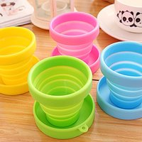 Wholesale Retractable Folding Cup - DHL Free shipping 200pcs Portable Silicone Retractable Folding Water Cup Outdoor Travel Telescopic Collapsible Soft Drinking Cup