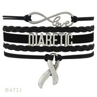 (10 PCS / Lote) Infinito Amor Diabetic Awareness Ribbon Charm Mulher Mens Presente Red Black Leather Multilayer Wrap Pulseira Custom