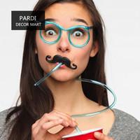 Wholesale Eyeglasses Drinking - Wholesale-Hot funny creative plastic straw mustache eyeglasses straw drinking straw bar accessories 1pc lot