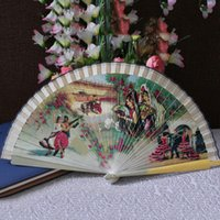 Wholesale Vintage Wedding Hand Fans - Chinese Japanese Folding Hand Fan Fashion Accessories Vintage Retro Style Bamboo Wood Sandal Fans Wedding Favors Home Decor