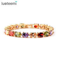 Wholesale wedding jewelry champagne color - LUOTEEMI Brand Chain Link Bracelet Champagne Gold-Color Multicolor Shape AAA Zircon Stone Charm Bracelet for Women Jewelry