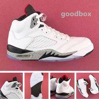 ücretsiz çevrimiçi basketbol ayakkabıları toptan satış-Beyaz çimento 5 s online Toptan İndirim basketbol ayakkabı Kutusu Ücretsiz kargo Ile Erkekler Boyutu 40-47