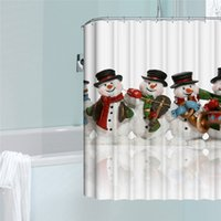 Wholesale Cartoon Snowman Bathroom Shower Curtain Polyester Waterproof Mildewproof Curtains with Hooks Xmas Supplies
