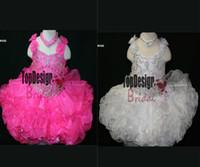 ingrosso abiti da sposa rosa caldi del bambino-2017 ALL'INGROSSO ORGANZA HOT ROSA BABY PAGEANT VESTITO LITTLE GIRL CUPCAKE ABITI BR1032