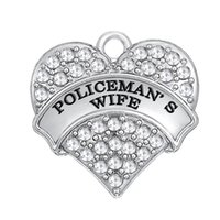 Wholesale wife quality - Two types Top Quality WIFE Engraved Rhodium Plated Rhinestone Heart Pendant Single-Sided Charms For Jewelry Accessory Making