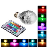 Wholesale E27 RGB LED Lamp W AC100 V led Bulb Lamp with Remote Control multiple colour led lighting