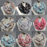 Wholesale Scarves Birds - Factory Direct Sale Animal Print Voile Infinity Scarf Cat Owl Bird Print Circle Scarf Fashion Scaves Towel Women Round Scarfs