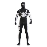 Brand New Black and White Lycra Spandex Full Body Zentai Suit Superhero Spider-man Cosplay Bodysuit Costume sexy pour Halloween