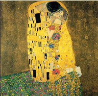 Wholesale Gustav Klimt Portrait - Multi Custom Sizes  Frame Available Handpainted   HD Print Gustav Klimt The Kiss 1909 Famous Portrait FINE Art Oil Painting On Canvas Kl09