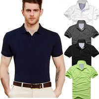 Wholesale Wholesale Contrast Collar Polo Shirt - New Fashion Cotton Short Sleeve Polo Shirts Men Brand Casual Slim Fit Solid Patchwork Collar Sleeves Men's Polos Casual Men Summer Short-sl