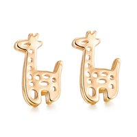 Wholesale Gold Earrings For Babies - Lovely Animal Earring Studs 18K Yellow Gold Rose Gold Plated Giraffe Studs Earrings for Baby Kids Teen Girls Women Sweet Jewelry Gift