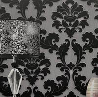Wholesale Wall Paper Leather - Wholesale-papel de parede. classic wall paper home decor background wall damask wallpaper black floral wallcovering 3d velvet wallpaper li
