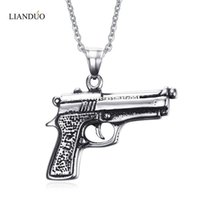 Wholesale Hand Gun Charms - Meaeguet Fashion Men's Gun Pendant Necklace 316L Stainless Steel Charm Pistol Hand Gun Jewelry 50cm Chain