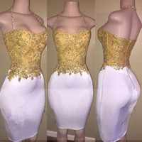 Wholesale Plus Size Bodycon Satin Dresses - Newest Gold Beads White Bodycon Short Mini Fitted Prom Party Dress 2017 Halter Sleeveless Zipper Cocktail Celebrity Gown