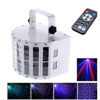 Wholesale Laser Stage Rgb - LED Effects Led Butterfly Light 6 Channel RGBW Dmx512 Stage Lighting Voice-activated Automatic Control LED Laser Projector DJ KTV Disco