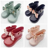 Wholesale Bow Rainboots - Waterproof Child Rubber Boots Jelly Soft Infant Shoe Girl Boots Baby Rain Boots Kids With Bow Girls Children Rain Shoes Bow
