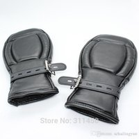 Wholesale Gloves Mittens Adult - Adult Fetish Sex Bondage Female Padded Fist Mitts Pony Play Slave Mittens Leather Sensory Deprivation Protective Lockable Gloves