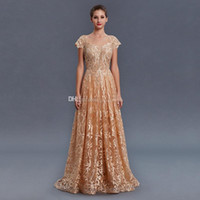 Wholesale turkey lighting - model pictures Saudi Arabia Turkey Pakistan Middle East gold lace beaded evening dresses 2018 heavily embroidery A-line evening gowns 070