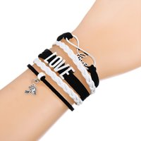 Wholesale Wholesale For Football Helmets - Hot Sale Multi-layer Braided Bracelets with Football Helmet & I LOVE YOGA Pendant Pink And White Adjustable Leather Bracelet for Dailywear