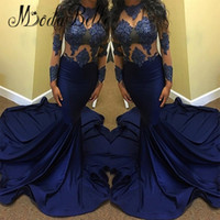 Wholesale Dark Royal Blue Dresses - Elegant Dark Royal Blue Mermaid Prom Dresses 2017 See Through Top Lace Long Sleeve Elegant Evening Gowns Cheap Graduation Party Wears Cheap