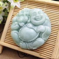 ingrosso collana di pendente di giada del buddha di risata-Bellissimi amanti della moda con ciondolo Buddha in giada verde naturale intagliati a mano Gioielli giada con ciondolo Buddha in giada che ride