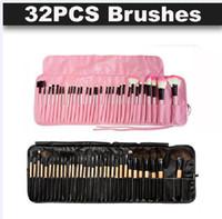 ingrosso rullo utensile trucco-32pcs pennelli trucco professionale legno rosa nero mini set set di pennelli cosmetici roll up case eyeliner ombretto pennello strumenti trucco