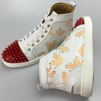 women shoes fingers 2018 - (Original Box}2017 New Finger Prints Red Bottom High Top Rivets Toe Sneakers Female Spikes Flat Shoes Men and Women Genuine Leather Shoes