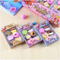 Wholesale Dessert Toys - 6Pcs Set Novelty Cake choclate Design Rubber Eraser Dessert Girls Play House Toys Kawaii Material doughnut Pencil Eraers
