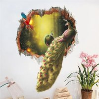 Wholesale Peacock Wall Sticker Decals - Colourful Peacock Birds Feathers Wall Stickers 3d Vivid Wall Decals Home Decor Art Decal Poster Animals Home Decor