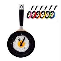 Wholesale Lit Wall Clock - Wholesale-Omelette Pan Clock Fry Pan Kitchen Fried Egg Design Wall Clock Home Decor