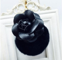 Wholesale Auto Rabbit - 8cm DIY Hot sale handmade leather rose flower keychain women cute rex rabbit fur ball bag pendant auto key chain leather camellia key rings