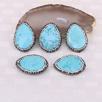 Wholesale Turquoise Connector Beads - 5pcs Natural Blue Turquoise Druzy Stone Beads, Water Drop Pave Crystal Gemstone Charm Connector Jewelry