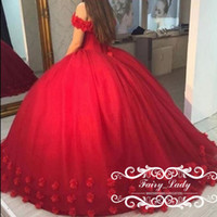Wholesale Dresses For Sweet 16 - Red 3D-Floral Appliques Puffy Ball Gown Quinceanera Dresses Sweet 16 Off Shoulder Red Tulle Lace Up Back 2017 Party Pageant For Girls