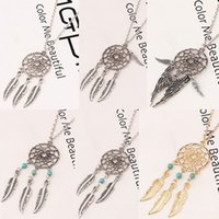 Wholesale Dream Catcher Necklace Charms Wholesale - 6 styles dream catcher statement necklaces with Angel wings feather turquoise beads Charm pendant necklace For women female Fashion Jewelry