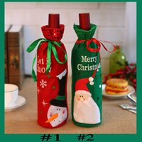 Wholesale champagne christmas tree - 2017 Santa Claus Red Wine Bottle Bag Christmas Decorations Articles Multi Function Champagne Cover Gift Bags