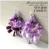 Wholesale Lavender Flower Bouquet - The bride bridegroom lavender purple corsages brooches beach wedding bouquets bridesmaids bouquets wrist flowers business party brooches