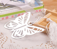 Wholesale Silver Butterfly Bookmarks - 20pcs Silver Stainless Steel Butterfly Bookmark For Wedding Baby Shower Party Birthday Favor Gift CS004