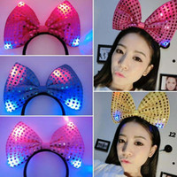 Wholesale led hair bows - 2017 New Halloween Christmas LED Toys Flash light Sequin Bow Hair Clip HeadBand Light up toy emitting Hairpin E208