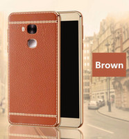 Wholesale Huawei P6 Leather Cover - Luxury Litchi Grain PU Leather Cover For Huawei Ascend P6 P7 P8 Lite P9 Pro Plus Case TPU Soft Silicon Case For Honor 6 7 8 Mate 7 8 9 Pro